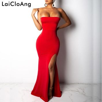 LaiCloAng Strapless Bandage Sexy Long Dress Women Off Shoulder Lace Up Backless Maxi Dress Backless Split Summer Party Dress