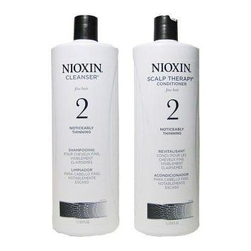 Nioxin System 2 Cleanser Scalp Therapy Duo Set Shampoo Conditioner 33.8oz Liter