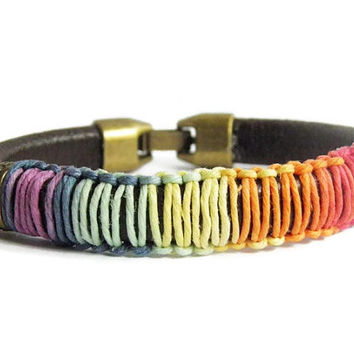 Brown leather bracelet minimalist rainbow hemp fall Indie boho chic stackable gift for her