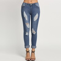 Washed Ripped Pencil Denim Jeans