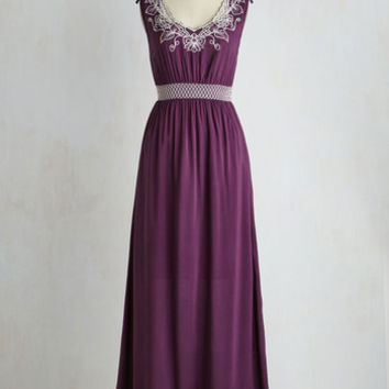 Boho Long Sleeveless A-line Up the Garden Path Dress in Plum