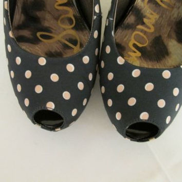 Sam Edelman Evelyn Women's Black with White Polka Dots Slingback, Heels 8 M