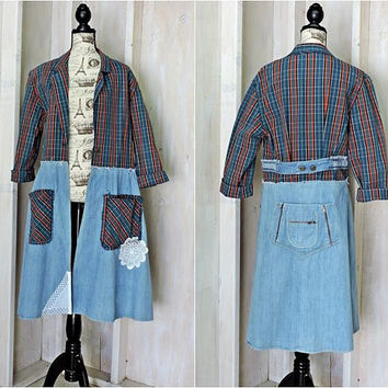 Womens Denim duster coat size S / M / long jean jacket coat / upcycled denim jacket
