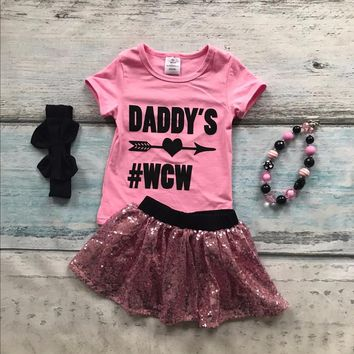 "4PC Little Girl's Outfit Pink Sequin Skirt ""Daddy's #WCW"" Women Crush Wednesday"