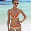 Vintage Bandage Swimwear Halter Push Up Bathing Suit Bikini Set