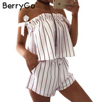 BerryGo Off shoulder stripe elegant jumpsuit romper White strap backless bow overalls Sexy summer beach  playsuit women outfit