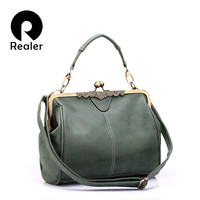 Realer brand new vintage bags retro PU leather tote bag women messenger bags small green clutch ladies shoulder handbags