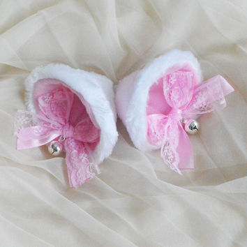 Kitten play clip on cat ears with ribbon bows and bells - neko lolita cosplay costume - kitten play gear accessories - white and pink