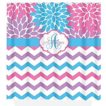 Pink Purple Blue SHOWER CURTAIN, Flower Chevron Bath, Custom MONOGRAM Personalized, Girl Bathroom Decor, Bath Towel, Plush Bath Mat