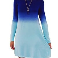 Women's Cotton Long Sleeve Loose Tunics Pullover Dress