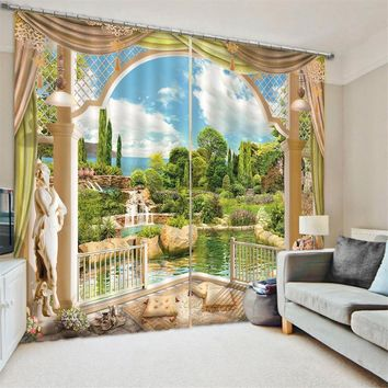 166x75cm 2 Panels 3D Landscape Window Curtains Door Bedroom Decoration Valance Divider Sheer Waterproof Polyester Curtains