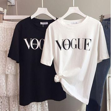 VOGUE letters print short sleeve T-shirt tee top black F