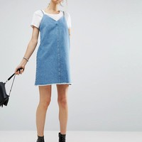 ASOS Denim Slip Dress With Raw Hem in Mid Wash Blue at asos.com