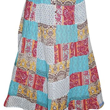 Mogul Womens Gujarati Dori Vintage Ethnic Print Patchwork Blue Long Skirts
