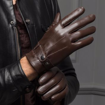 YY 8597 Male 2017 Spring/Winter Real Leather Short Thin/Thick Black/Brown Touched Screen Glove Man Gym Luvas Car Driving Mittens