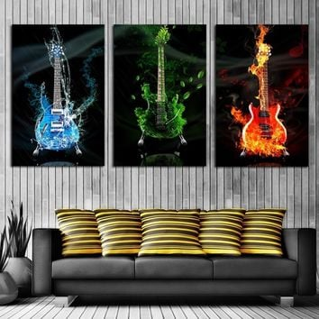 3 Panels Frameless Colorful Guitar Wall Art Pictures Print On Canvas Painting For Home Kitchen Decoration  (Size: 4 different si