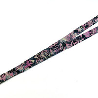"Breakaway Fabric Lanyard - Pink and Grey Batik - 3/4"" wide x 18"" drop - key ring/badge lanyard, neck lanyard"