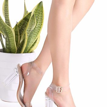 Clear Ankle Strap Peep Toe Heeled Beige Sandals