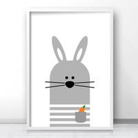 Bunny Nursery Wall Art Printable, Nursery Print, Gray Nursery Decor, Instant Download Art For Kids, Baby Animal Print, Nursery Art, Kids Art