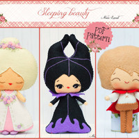 PDF. The Sleepy beauty: Princess Aurora, Prince Phillip and Maleficent. Fairy tale pattern.