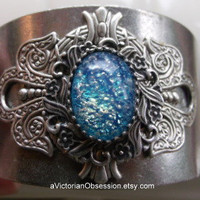 Silver and light blue Vintage Victorian hand crafted wrist cuff
