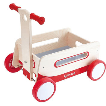 Hape - Red Wonder Wagon Wooden Push and Pull Ride On
