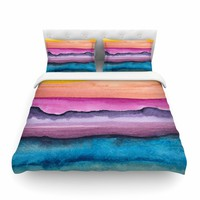 "Marco Gonzalez ""A 0 20"" Purple Blue Abstract Modern Painting Mixed Media Featherweight Duvet Cover"