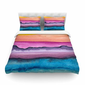 """Marco Gonzalez """"A 0 20"""" Purple Blue Abstract Modern Painting Mixed Media Featherweight Duvet Cover"""