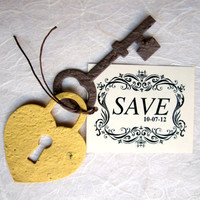 Save the Date Lock and Key Announcement Wedding Favor - Flower Seed - DIY Supplies