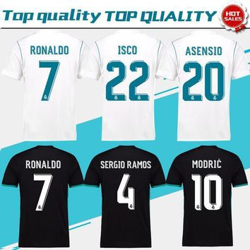New Real Madrid Home white Soccer Jersey 17 18 CR7 Away black so dafd6c941