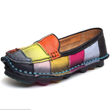 colors casual shoes flats Handmade vintage women's shoes genuine leather female moccasins loafers soft cow outsole Mixed z146