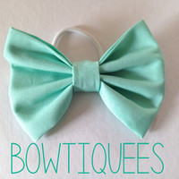 Mint Green Bow Mint Hair Tie Mint Pony Tail Holder by bowtiquees
