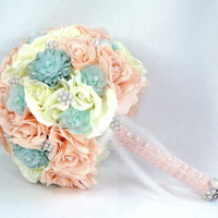 Deluxe Bridal Brooch Bouquet Romantic Peaches & Pearls Ivory, Peach And Mint Rose Bouquet Shabby Chic Gatsby Vintage Beach Wedding