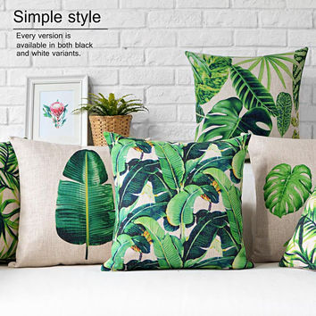 Southeast Asia Home Decor Pillow Banana leaves Decorative Throw Pillows Rainforest Linen Cotton Cushion Free Shipping