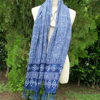 Indigo Batik Scarf With Fringe, Women's Long Fringed Scarf In Hand Stamped Hmong Batik Naturally Dyed - Free Shipping