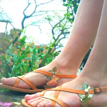 """Genuine Ancient Greek Sandals ,Real Leather with Gold Details on the Sides , """" APHRODITE GODDESS""""  Made In Greece"""