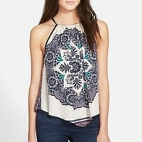 Junior Women's Zoe and Rose Print High Neck Tank,
