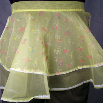 Sheer Yellow Half Apron with Flower Pattern