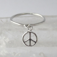 Silver charm Peace Ring... Sterling silver Stacking ring with loose Peace sign charm