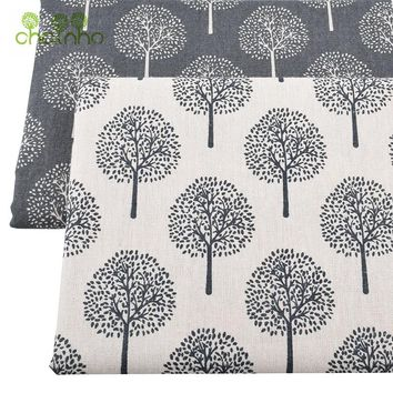 Chainho Printed Cotton Linen Fabric For Patchwork Quilting/DIY Sewing/Sofa Table Cloth/Furniture Cover Tissue/Cushion Material