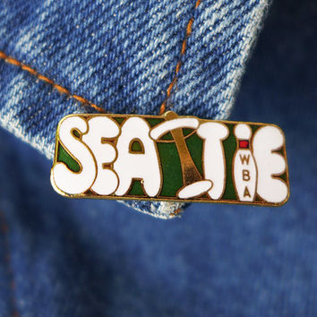 70s Seattle Pin, Space Needle Enamel Pin, Enamel Lapel Pin Badge, American Enamel Badge, Flair Pin, WBA Bowling Pin