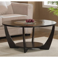 Modern Espresso Coffee Table with Shelf and Glass Insert