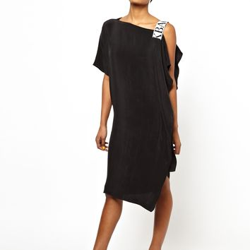 BACK by Ann-Sofie Back Elastic Dress with One Shoulder Drape