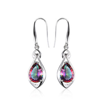 .925 Solid Silver Water Drop Mystic Topaz Dangle Earrings