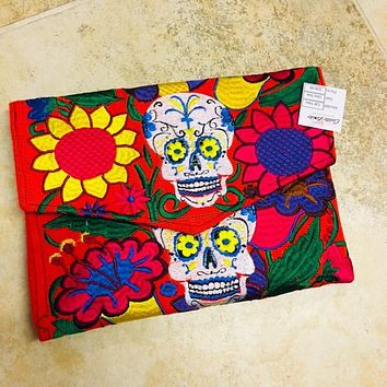 Sugar Skulls Embroidered Clutch & Crossbody Bag Orange