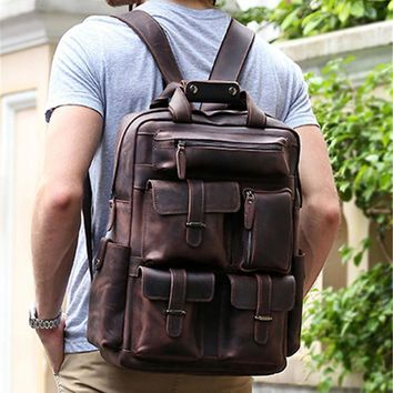 Vintage New 2016 Men's Genuine Leather Backpack Men Crazy Horse Leather Backpack Male School Backpack Book Bags Travel Backpacks