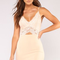 Down For You Lace Dress - Nude