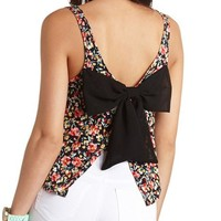 FLORAL PRINT BACK-BOW CROP TOP