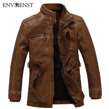 Men's Leather Thick Warm Lamb Fur Lined Jacket/Coat