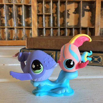 Littlest Pet shop, LPS Whale Set, Lps Squirt Pairs, Littlest Pet Pairs, Lps Pair, Collectible Little Pet, Little Pet Fish, LPS Fish Set, LPS